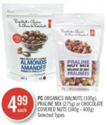 PC Organics Walnuts (100g) - Praline Mix (275g) or Chocolate Covered Nuts (340g - 400g)