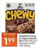 Quaker Chewy or Dipps Granola Bars 150-156 g or Harvest Crunch 130-200 g