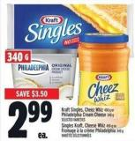 Kraft Singles - Cheez Whiz 450 g or Philadelphia Cream Cheese 340 g