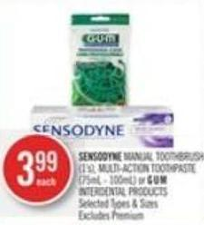Sensodyne Manual Toothbrush (1's) - Multi-action Toothpaste (75ml - 100ml) or Gu.m Interdental Products