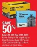 Extra-strength Garbage Bags or Clear Outdoor Bags - 80-pack or 133l Contractor Bags - 32-pack