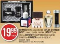 Rihanna Rouge Love (30ml) - Taylor By Taylor Swift (100ml) Eau De Parfum - Lacoste Live (40ml) - Davidoff Champion (90ml) - Eau De Toilette or Hummer Black 3-piece Set