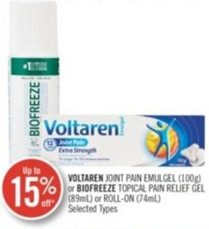 Voltaren Joint Pain Emulgel (100g) or Biofreeze Topical Pain Relief Gel (89ml) or Roll-on (74 Ml)