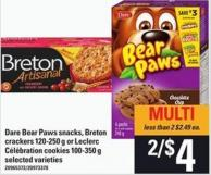 Dare Bear Paws Snacks - Breton Crackers - 120-250 G Or Leclerc Célébration Cookies - 100-350 G