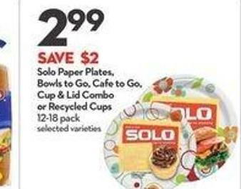 Solo Paper Plates - Bowls To Go - Cafe To Go - Cup & Lid Combo or Recycled Cups