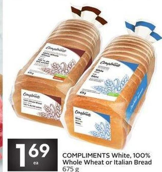 Compliments White - 100% Whole Wheat or Italian Bread