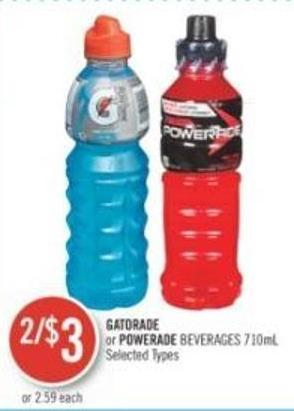 Gatorade or Powerade Beverages 710ml