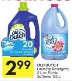 Old Dutch Laundry Detergent 2 L or Fabric Softener 3.6 L - 20 Air Miles Bonus Miles