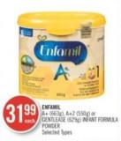 Enfamil A+ (663g) - A+2 (550g) or Gentlease (629g) Infant Formula Powder