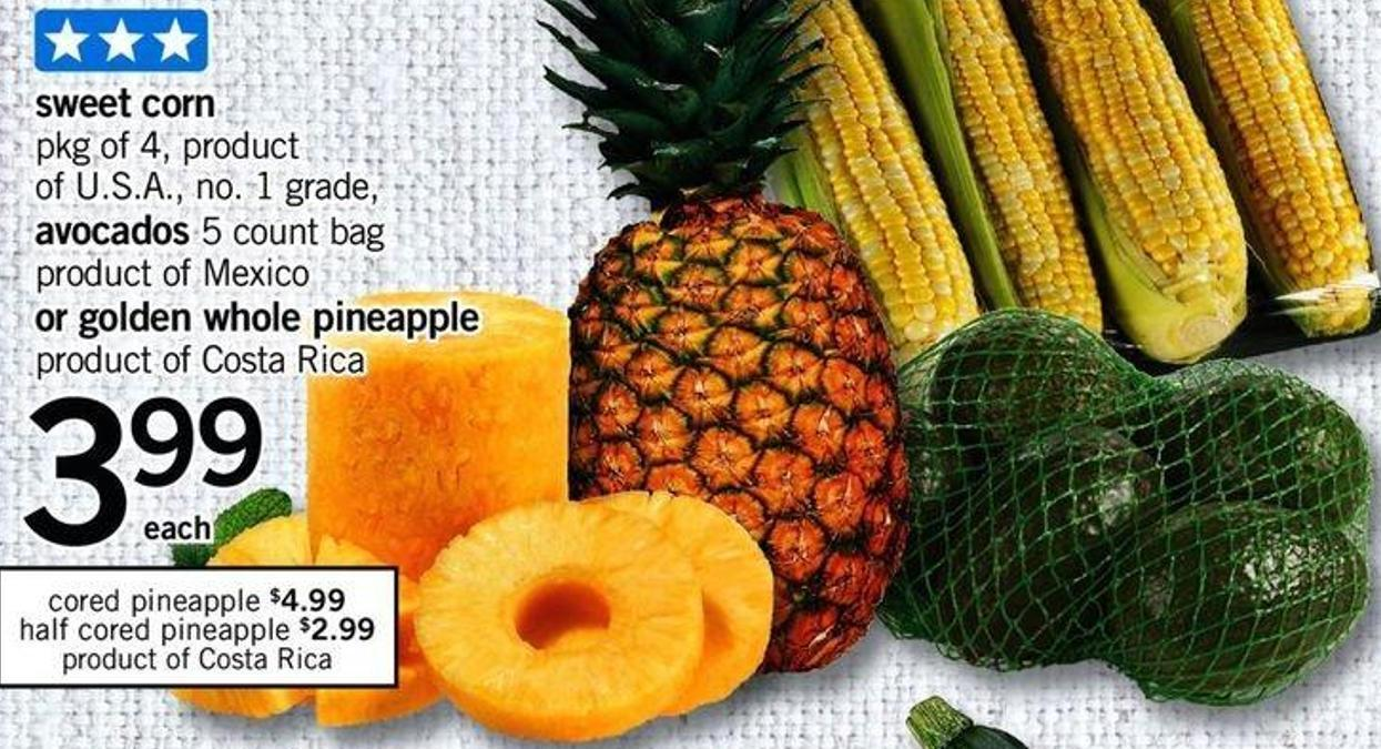 Sweet Corn - Pkg of 4 - Avocados - 5 Count Bag Or Golden Whole Pineapple