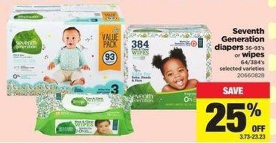 Seventh Generation Diapers 36-93's Or Wipes 64/384's