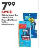 Gillette Sensor 2 or Sensor 2 Plus Disposable Razors