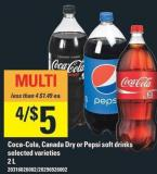 Coca-cola - Canada Dry Or Pepsi Soft Drinks - 2l