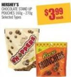 Hershey's Chocolate Stand Up Pouches 160g - 270g