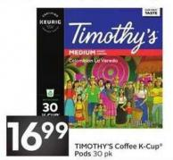 Timothy's Coffee K-cup Pods