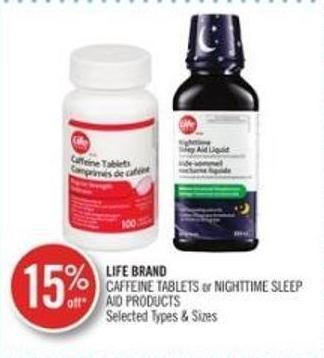 Life Brand Caffeine Tablets Or Nighttime Sleep Aid Products