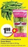 2 Pack Romaine Hearts or Green Beans