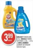 Sunlight Powercore (14's) - Snuggle Fabric Softener (1.43l - 1.47l) or Arm & Hammer Laundry Detergent