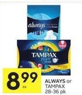 Always or Tampax 28-36 Pk
