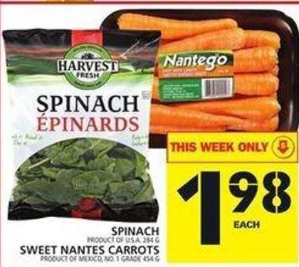 Spinach Or Sweet Nantes Carrots