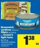 Brunswick Sardines - 106 G Or Fillets - 92/100 G Or Ocean's Light Tuna - 85/170 G