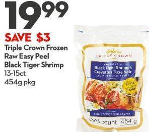Triple Crown Frozen  Raw Easy Peel  Black Tiger Shrimp 13-15ct 454g Pkg