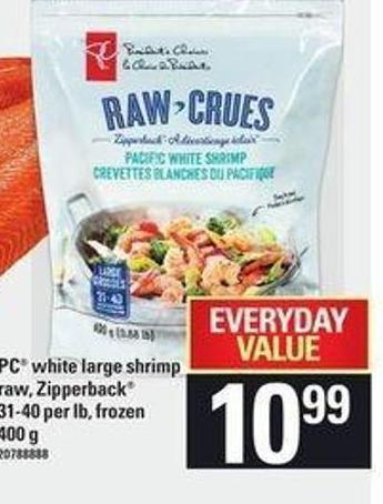 PC White Large Shrimp Raw - Zipperback 31-40 Per Lb - 400 g