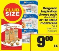 Bergeron Inspiration Cheese Pack Sliced - 400 G Or Tre Stelle Mozzarella 750 G