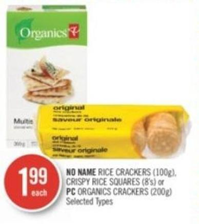 No Name Rice Crackers (100g) - Crispy Rice Squares (8's) or PC Organics Crackers (200g)