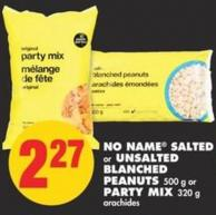 No Name Salted or Unsalted Blanched Peanuts 500 g or Party Mix 320 g