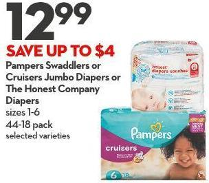 Pampers Swaddlers or  Cruisers Jumbo Diapers or  The Honest Company  Diapers Sizes 1-6 44-18 Pack