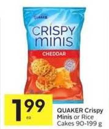 Quaker Crispy Minis or Rice Cakes 90-199 g