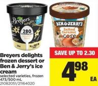 Breyers Delights Frozen Dessert Or Ben & Jerry's Ice Cream - 473/500 mL