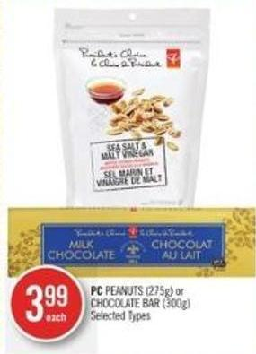 PC Peanuts (275g) or Chocolate Bar (300g)