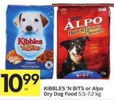 Kibbles 'N Bits or Alpo Dry Dog Food 5.5-7.2 Kg