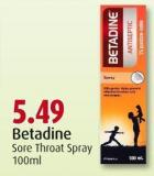 Betadine Sore Throat Spray 100ml