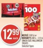Nestlé (100's) or Hershey's (80's - 115's) Snack Size Halloween Treats