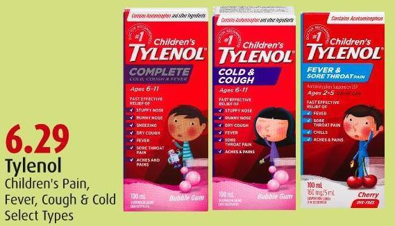 Tylenol  Children's Pain -  Fever - Cough & Cold