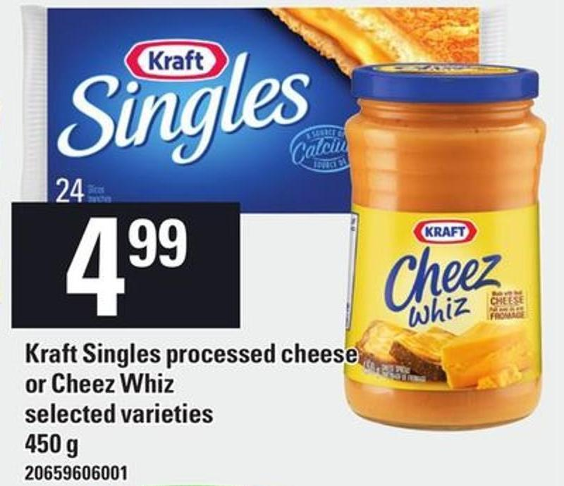 Kraft Singles Processed Cheese Or Cheez Whiz - 450 g