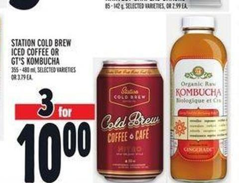 Station Cold Brew Iced Coffee Or Gt's Kombucha