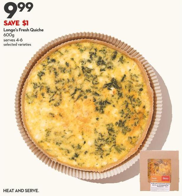 Longo's Fresh Quiche  600g Serves 4-6