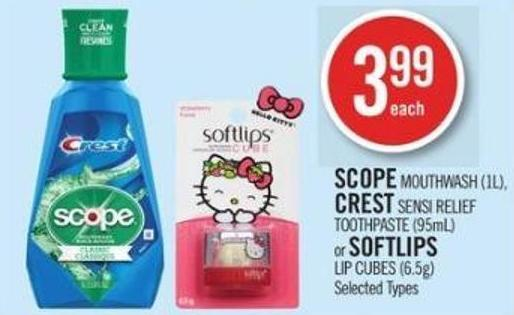 Scope Mouthwash (1l) - Crest Sensi Relief Toothpaste (95ml) or Softlips Lip Cubes (6.5g)