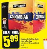 Kups.com Coffee Shop Single Serve Coffee Cups Colombian or Breakfast Blend 36 Pk