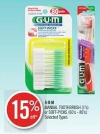 Gu.m Manual Toothbrush (1's) or Soft-picks (60's - 80's)