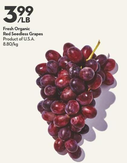 Fresh Organic Red Seedless Grapes Product of U.S.A.