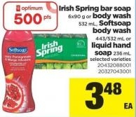 Irish Spring Bar Soap - 6x90 G Or Body Wash - 532 Ml - Softsoap Body Wash - 443/532 Ml Or Liquid Hand Soap - 236 Ml