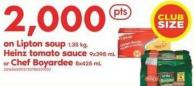 Lipton Soup 1.35 Kg - Heinz Tomato Sauce 9x398 mL Or Chef Boyardee 8x425 mL