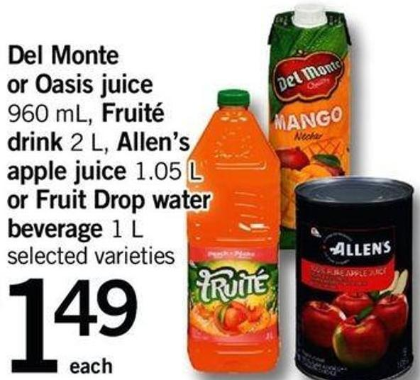 Del Monte Or Oasis Juice - 960 Ml Fruité Drink - 2 L Allen's Apple Juice - 1.05 L Or Fruit Drop Water Beverage - 1 L