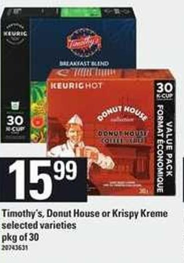 Timothy's - Donut House Or Krispy Kreme - Pkg of 30
