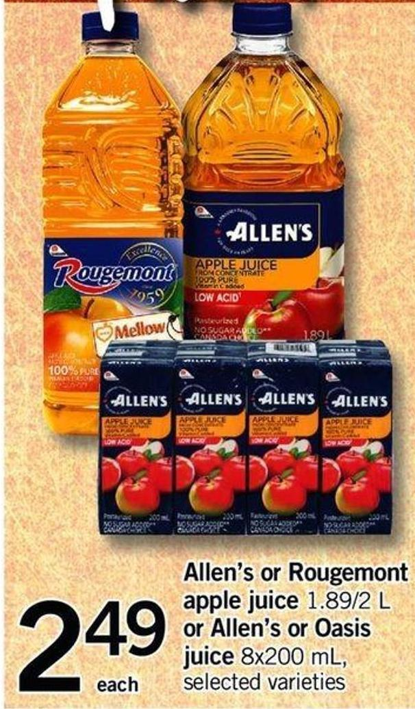 Allen's Or Rougemont Apple Juice - 1.89/2 L - Or Allen's Or Oasis Juice - 8x200 Ml